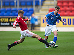 St Johnstone Academy v Manchester Utd Academy&hellip;.06.05.16  McDiarmid Park, Perth<br />Ethan Laird&rsquo;s pass is blocked by Christian Farrar<br />Picture by Graeme Hart.<br />Copyright Perthshire Picture Agency<br />Tel: 01738 623350  Mobile: 07990 594431