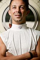 Jockey Eibar Coa poses for the photographer at the race track in Saratoga Springs, NY, USA, 14 August 2006.