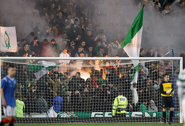 Celtic fans set the Broomloan Road stand alight with pyrotechnics
