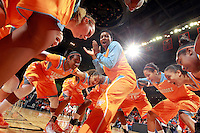 CHARLOTTESVILLE, VA- NOVEMBER 20: Tennessee Lady Volunteers huddle up before the start of the game on November 20, 2011 against the Virginia Cavaliers at the John Paul Jones Arena in Charlottesville, Virginia. Virginia defeated Tennessee in overtime 69-64. (Photo by Andrew Shurtleff/Getty Images) *** Local Caption ***