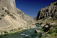 canyon, Wyoming, WY, Water flows down through the Wind River Canyon near Shoshoni.