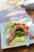Europe/France/2A/Corse du Sud/Porto:  Salade de rougets, recette de Marc Russo restaurant: La Mer, à la marine