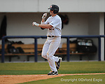 Ole Miss' David Phillips celebrates his home run vs. Louisiana-Monroe at Oxford-University Stadium in Oxford, Miss. on Sunday, February 21, 2010.
