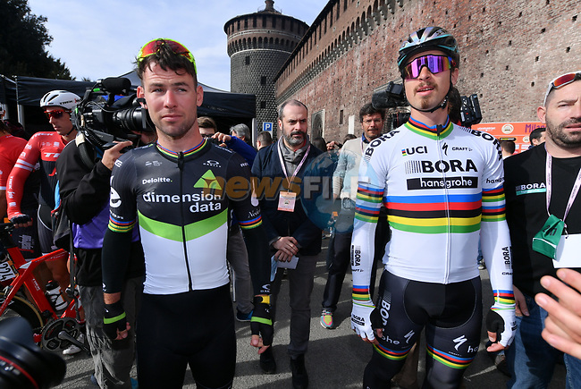Pre race favourites Mark Cavendish (GBR) Dimension Data and World Champion Peter Sagan (SVK) Bora-Hansgrohe at sign on before the start of the 108th edition of Milan-San Remo 2017 by NamedSport the first Classic Monument of the season running 291km from Milan to San Remo, Italy. 18th March 2017.<br /> Picture: La Presse/Gian Mattia D'Alberto | Cyclefile<br /> <br /> <br /> All photos usage must carry mandatory copyright credit (&copy; Cyclefile | La Presse)