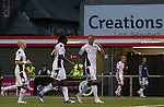 Fulham striker Bobby Zamora celebrating putting his team back into the lead in the second half of a UEFA Europa League 2nd qualifying round, fist leg match at Seaview, Belfast. The visitors from England won by 3 goals to 1 before a crowd of 3011.