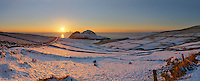 Amazing Winter Sunset Over snowy Puffin Island and Skelligs, County Kerry, Ireland