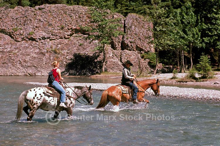 Banff National Park, Canadian Rockies, AB, Alberta, Canada - Horseback Riding across the Spray River, Summer