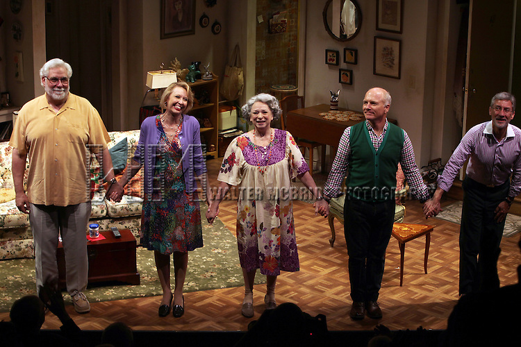 Richard Masur, Julie Halston, Marcia Jean Kurtz, Dan Butler & David Garrison during the Opening Night Curtain Call for the Primary Stages Production of 'Olive and the Bitter Herbs' in New York City. ...