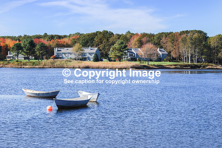 Atlantic coastline, near Kennebunkport, Maine, USA, October, fall, autumn, boat, sea, properties, houses, coast, 201110115163..Copyright Image from Victor Patterson, 54 Dorchester Park, Belfast, United Kingdom, UK...For my Terms and Conditions of Use go to http://www.victorpatterson.com/Victor_Patterson/Terms_%26_Conditions.html
