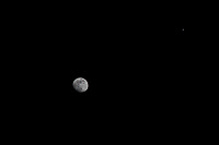 Waxing gibbous moon with Jupiter.