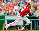 1 May 2011: Washington Nationals outfielder Jayson Werth watches his ball trajectory during a game against the San Francisco Giants at Nationals Park in Washington, District of Columbia. The Nationals defeated the Giants 5-2. Mandatory Credit: Ed Wolfstein Photo