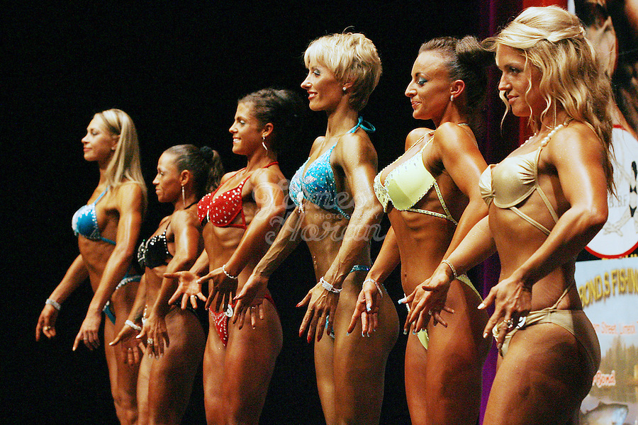 23/10/2010. Irish female physique and figure fitness national championships.  Contestants are pictured onstage during the female figure fitness category as part of the 2010 RIBBF national bodybuilding championships at the University of Limerick Concert Hall, Limerick, Ireland. Picture James Horan.