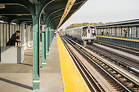 "A test train consisting of new R179 subway cars runs along the elevated portion of the ""A"" line in Queens in New York on Wednesday, November 2, 2016. manufactured by Bombardier, partially in upstate Plattsburgh, New York, the cars will eventually replace the comparatively ancient R32 cars from 1964 on the A, C, M, J, and Z lines. ( © Richard B. Levine)"