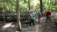NWA Democrat-Gazette/FLIP PUTTHOFF <br /> Hikers work their way through rock formations while exploring Lost Ridge Trail on Sept. 16 2015 at Lake Leatherwood in Eureka Springs. The remote route is part of the trail network at Lake Leatherwood City Park, which features about 21 miles of trail for hiking and off-road cycling.