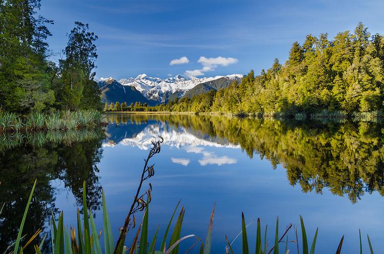 Lake Matheson, Westland National Park, South Island, New Zealand - stock photo, canvas, fine art print