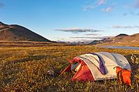 Midnight sun along the Nigu river, Brooks range, arctic, National Petroleum Reserve, Alaska.