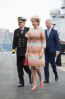Queen Mathilde of Belgium attends the baptism of patrol ship P901 'Castor' - Belgium