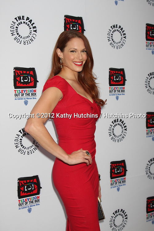"LOS ANGELES - APR 12:  Amanda Righetti arrives at Warner Brothers ""Television: Out of the Box"" Exhibit Launch at Paley Center for Media on April 12, 2012 in Beverly Hills, CA"