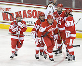 Jillian Kirchner (BU - 18), Taylor Holze (BU - 24), Jenn Wakefield (BU - 9), Kathryn Miller (BU - 4) and Kasey Boucher (BU - 3) celebrate Wakefield's goal - her 11th on the season and the only goal of the game. - The visiting Boston University Terriers defeated the Boston College Eagles 1-0 on Sunday, November 21, 2010, at Conte Forum in Chestnut Hill, Massachusetts.