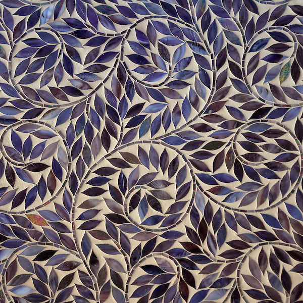 Jacqueline Vine, a waterjet jewel glass mosaic, shown in Amethyst, is part of the Silk Road Collection by Sara Baldwin for New Ravenna Mosaics.