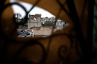 SYRIA - Al Qsair. View of Al Qseir from the broken window of a mosque on January 27, 2012. Al Qsair is a small town of 40000 inhabitants, located 25Km south-west of Homs. The town is besieged since the beginning of November and so far it counts 65 dead. ALESSIO ROMENZI