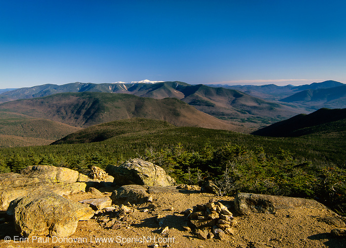 Scenic view of Mount Washington (snow-capped) from Mount Liberty in the White Mountains, New Hampshire Owls Head is in the middle.