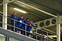 Bath Director of Rugby Todd Blackadder and first team coaches Toby Booth, Tabai Matson and Darren Edwards look on. Aviva Premiership match, between Sale Sharks and Bath Rugby on May 6, 2017 at the AJ Bell Stadium in Manchester, England. Photo by: Patrick Khachfe / Onside Images