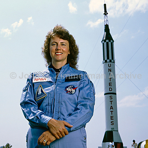 Christa McAuliffe was an American teacher and one of seven crew members killed in the Space Shuttle Challenger disaster (1986). NASA, Houston, Texas, 1985. Photo by John G. Zimmerman.