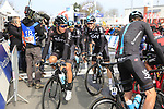 Team Sky arrive to the start line of the 60th edition of the Record Bank E3 Harelbeke 2017, Flanders, Belgium. 24th March 2017.<br /> Picture: Eoin Clarke | Cyclefile<br /> <br /> <br /> All photos usage must carry mandatory copyright credit (&copy; Cyclefile | Eoin Clarke)