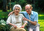 "82 year old radio sportscaster Walter Lanier ""Red"" Barber with his wife at their home in Tallahassee, Florida August 18, 1990.  Barber passed away two years later.  Barber became an icon broadcasting the play by play for the Brooklyn Dodgers and the New York Yankees professional baseball teams becoming known for this southern catchphrases.  Red Barber's wife's name is Lylah.  In his final years he did a weekly radio show from his home for NPR."
