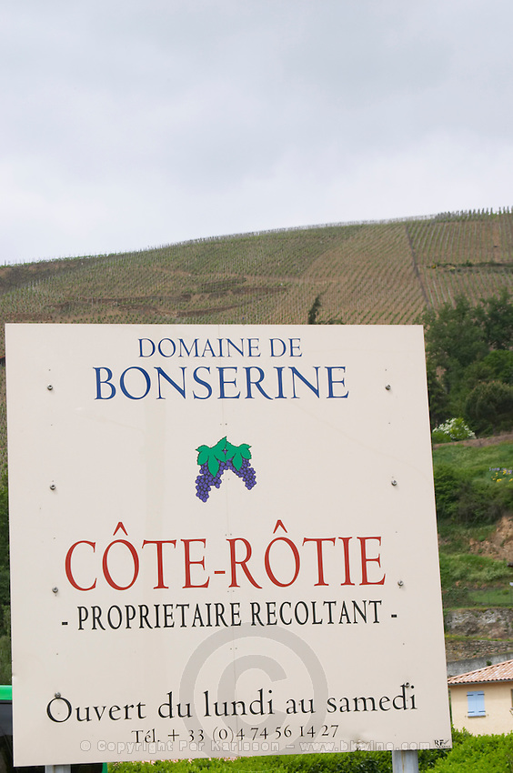 cote rotie sign domaine bonserine ampuis rhone france