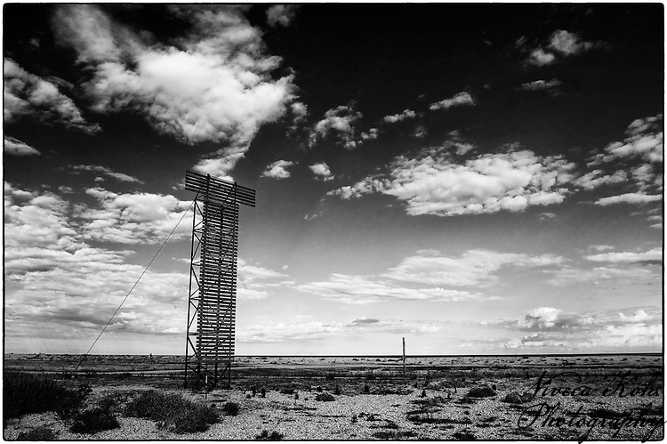 """Wooden """"T"""" structure at Dungeness"""