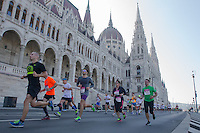 Participants run in front of the Hungarian Parliament during the Budapest Half Marathon in Budapest, Hungary on September 13, 2015. ATTILA VOLGYI
