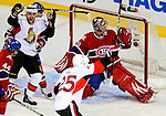 17 October 2009: Montreal Canadiens goaltender Carey Price gives up the first goal of the game in the first period to the Ottawa Senators at the Bell Centre in Montreal, Quebec, Canada. The Senators defeated the Canadiens 3-1. Mandatory Credit: Ed Wolfstein Photo