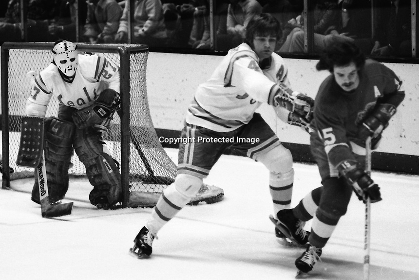 Seals Bob Stewart pushes off Detroit Red Wings Bill Hogaboam, goalie Gilles Meloche (1975 photo/Ron Riesterer)