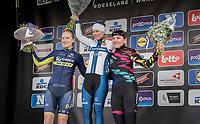 Dwars Door Vlaanderen 2017 Women's podium:<br /> 1/ Lotta Lepist&ouml; (FIN/Cerv&eacute;lo-Bigla)<br /> 2/ Gracie Elvin (AUS/Orica-Scott)<br /> 3/ Lisa Brennauer (DEU/Canyon-SRAM)