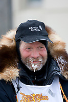 Jim Lanier at the finish line in Nome in 6th place during the 2008 All Alaska Sweepstakes sled dog race.