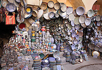 Shop selling traditional ceramics in the Henna Souk in the medina of Fes, Fes-Boulemane, Northern Morocco. The medina of Fes was listed as a UNESCO World Heritage Site in 1981. Picture by Manuel Cohen