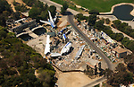 Aerial view of plane crash set at Universal Studios, Hollywood, CA