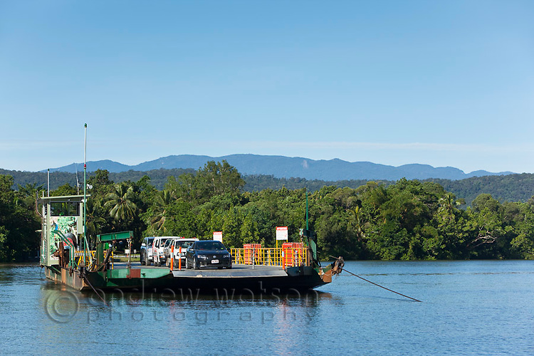 The Daintree River cable ferry.  Daintree National Park, Queensland, Australia