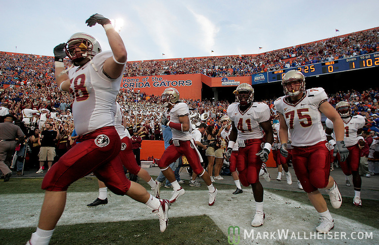 The Seminoles take the field in the Swamp for the annual Florida-Florida State football game in Gainesville, Florida November 24, 2007.   (Mark Wallheiser/TallahasseeStock.com)