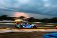 Sunset during practice, #90 Corvette DP, Richard Westbrook, Michael Valiante, Mike Rockenfeller 12 Hours of Sebring, Sebring International Raceway, Sebring, FL, March 2015.  (Photo by Brian Cleary/ www.bcpix.com )