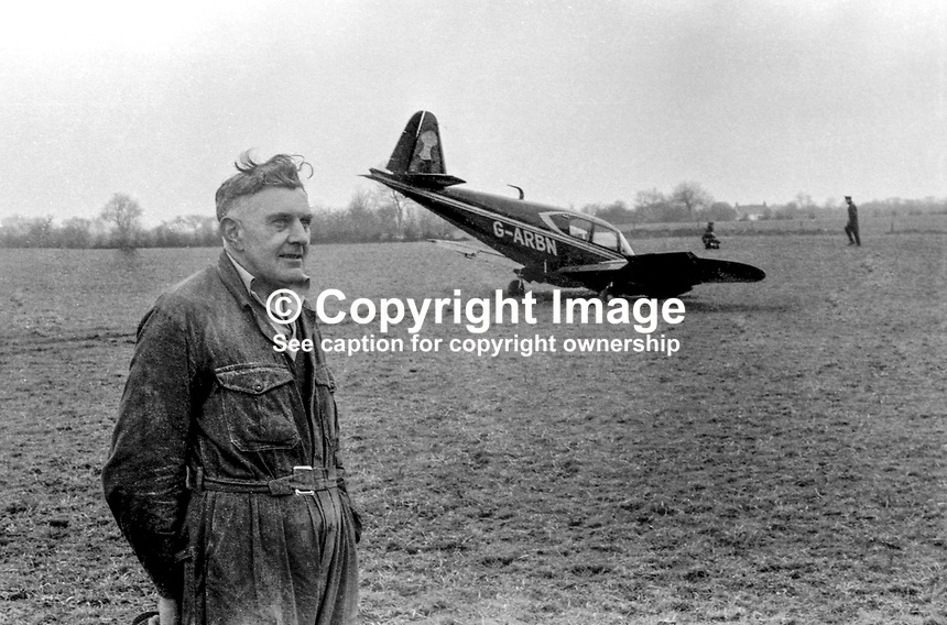 The twin-engined light aircraft, a Piper Apache, which made an emergency landing just a few miles short of Aldergrove Airport, near Belfast, N Ireland, 8th April 1977. The four passengers were the Duchess of Westminster, her son, Earl Grosvenor, the Earl of Belmore and Richard Boardman from Chester. The duchess is the wife of one of the UK&rsquo;s richest men. The farmer, David Scott, and his wife, treated the party to tea and buns until a Fermanagh-registered Rolls-Royce arrived to whisk the party to Ely Lodge for Easter. 197704080325<br /> <br /> Copyright Image from Victor Patterson, 54 Dorchester Park, <br /> Belfast, UK, BT9 6RJ<br /> <br /> t1: +44 28 9066 1296 (from Rep of Ireland 048 9066 1296)<br /> t2: +44 28 9002 2446 (from Rep of Ireland 048 9002 2446)<br /> m: +44 7802 353836<br /> <br /> e1: victorpatterson@me.com<br /> e2: victorpatterson@gmail.com<br /> <br /> www.victorpatterson.com<br /> <br /> Please see my Terms and Conditions of Use at VICTORPATTERSON.COM. It is IMPORTANT that you familiarise yourself with them.<br /> <br /> Images used on the Internet must be visibly watermarked i.e. &copy;VICTORPATTERSON.COM within the body of the image and copyright metadata must not be deleted. Images used on the Internet have a size restriction of 4kbs and are chargeable at the then current NUJ rates.<br /> <br /> This image is only available for the use of the download recipient i.e. television station, newspaper, magazine, book publisher, etc, and must not be passed on to any third party. It is also downloaded on condition that each and every usage is notified within 7 days to victorpatterson@me.com<br /> <br /> The right of Victor Patterson to be identified as the author is asserted in accordance with The Copyright Designs And Patents Act (1988).