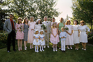 Ketchum, Idaho, U.S.A, August, 5th, 1989. Group photos of Jack Hemingway and his second wife  Angela Holvey with family members and friends.