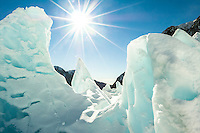 Walking through ice gallery full of incredible icy sculptures on Franz Josef Glacier in winter, Westland National Park, West Coast, World Heritage Area, New Zealand