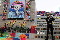 "Mesa, Arizona. October 28, 2012 - The Day of the Dead is a religious holiday celebrated in Mexico with a solemn mood to remember dead loved ones. However, in the Southwest of the United States and in states like Arizona, the holiday takes a form of a cultural festivity, the turning the traditional ""Día de los Muertos"" into a festival-like event. A mariachi band played traditional Mexican songs during the Dead Celebration at the Mesa Arts Center. Mariachi is Mexico's most famous folk music, and often played at burials in that country, where survivors of deceased people honor them with songs. Photo Eduardo Barraza © 2012"