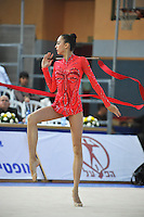 Viktoria Shynkarenko of Ukraine performs with ribbon at 2011 Holon Grand Prix at Holon, Israel on March 5, 2011.  (Photo by Tom Theobald).
