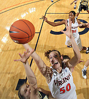 Nov. 14, 2010; Charlottesville, VA, USA; Virginia forward Chelsea Shine (50) grabs a rebound in front of Mount St. Mary's forward Jessie Kaufman (32) during the game at the John Paul Jones Arena. Virginia won 81-58. Mandatory Credit: Andrew Shurtleff-