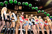 The Wingettes face off for the title of Ms. Wing Bowl at the 14th annual Wing Bowl, held in Philadelphia on February 3, 2006 at the Wachovia Center.<br /> <br /> The Wing Bowl is a competitive eating event in which eaters try and down the most hot wings in 30 total minutes in front of a crowd of 10,000 plus people.  The real show however is all around the eaters, from the various scantily clad women (known as &quot;Wingettes&quot;) that make up eaters' entourages, to the behavior of the fans themselves.