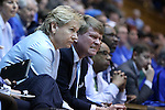 01 March 2015: UNC head coach Sylvia Hatchell (left) with assistant coach Andrew Calder (right). The Duke University Blue Devils hosted the University of North Carolina Tar Heels at Cameron Indoor Stadium in Durham, North Carolina in a 2014-15 NCAA Division I Women's Basketball game. Duke won the game 81-80.